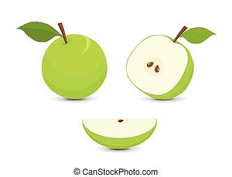 conjunto, manzanas verdes