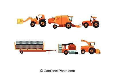 conjunto, maquinaria de la granja, estilo, vector, ...