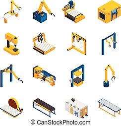conjunto, maquinaria, robótico, iconos