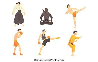 conjunto, marcial, practicar, ilustración, luchadores, vector, ninjutsu, atletas, kickboxing, boxeo, macho, patadas, diferente, profesional, artes, aikido, técnica, asiático