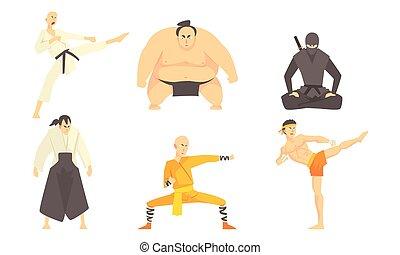 conjunto, marcial, practicar, judo, ilustración, vector, atletas, aikido, técnica, asiático, luchadores, artes, sumo, profesional masculino, karate, ninjutsu, patadas, diferente, kickboxing