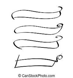 conjunto, marco, vector, caligrafía, bandera, cinta