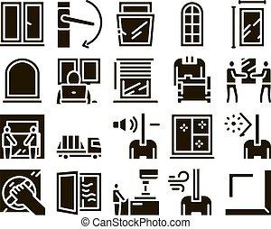 conjunto, marcos, ventana, glyph, vector, pvc