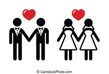 conjunto, matrimonio, alegre, iconos