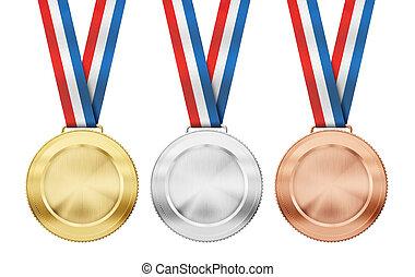 conjunto, medallas, tricolor, aislado, oro, realista, bronce...