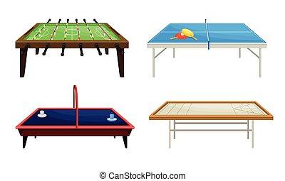 conjunto, mesas, vector, foosball, tenis, tabla, abordar ...