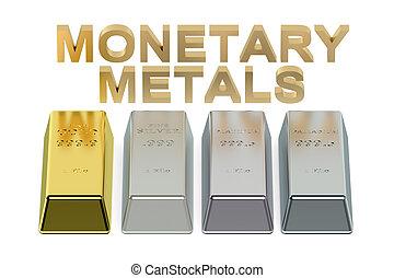 conjunto, metales, monetario, lingotes