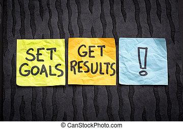 conjunto, metas, conseguir, resultado, concepto
