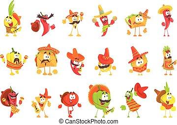 conjunto, mexicano, caracteres, bailando, alimento, nacional, caricatura, maracas, guitarras, sonriente, fresco, vegetales, ropa
