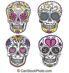 conjunto, mexicano, cráneo, azúcar