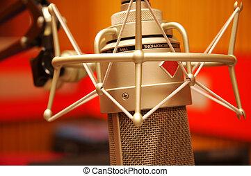 conjunto, microfone, editando, estúdio
