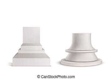 conjunto, mockup, podio, pedestal, plinth, mármol, design.