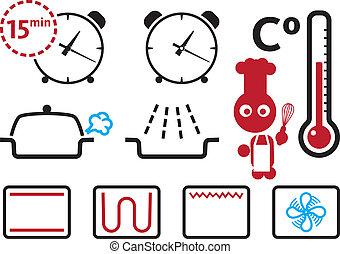 conjunto, modos, ajustes, iconos, horno, señales