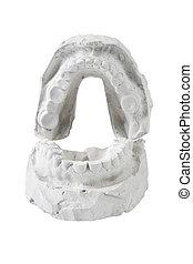 conjunto, molde, humano, lleno, dientes