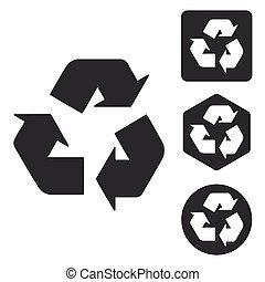 conjunto, monocromo, reciclaje, señal, icono