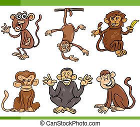 conjunto, monos, ilustración, caricatura