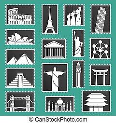 conjunto, monumentos, iconos, ilustración, símbolos, sellos, vector