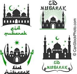 conjunto, mubarak, fiesta, vector, saludos, eid