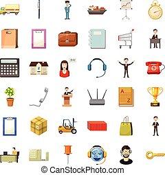 conjunto, mujer de negocios, estilo, caricatura, iconos