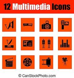 conjunto, multimedia, iconos