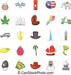 conjunto, mundo, estilo, caricatura, iconos