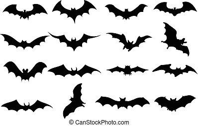 conjunto, murciélagos, iconos