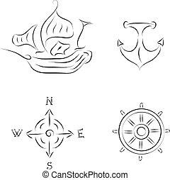Conjunto, náutico, icono