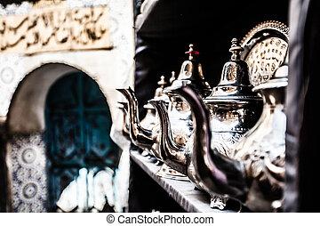 conjunto, nana, olla té, metal, árabe, menta, anteojos