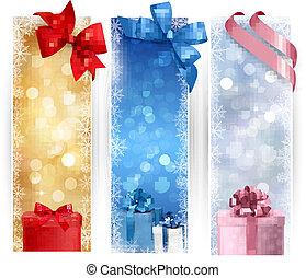 conjunto, navidad, banderas, invierno, ilustración
