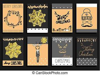 conjunto, navidad, calligraphic, diseñe elementos