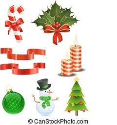 conjunto, navidad, icono