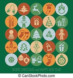 conjunto, navidad, iconos