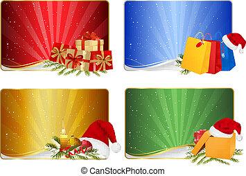 conjunto, navidad, invierno, banners.