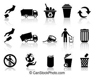 conjunto, negro, basura, iconos