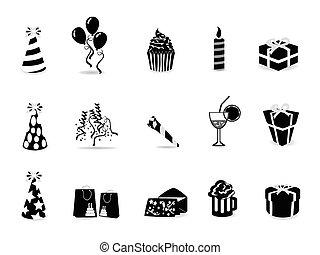 conjunto, negro, cumpleaños, icono