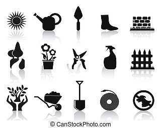 conjunto, negro, jardín, iconos
