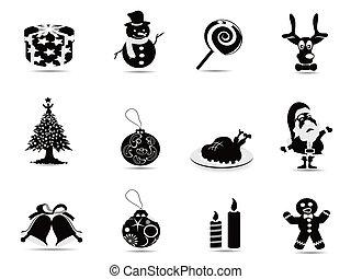 conjunto, negro, navidad, icono