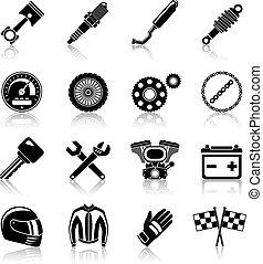 conjunto, negro, partes, motocicleta