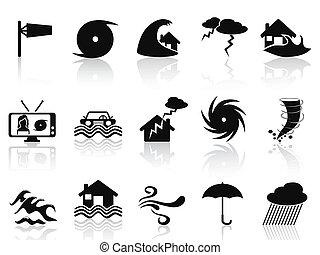 conjunto, negro, tormenta, iconos