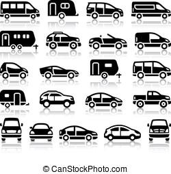 conjunto, negro, transporte, iconos