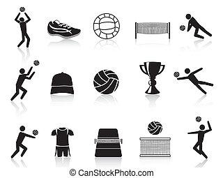 conjunto, negro, voleibol, iconos