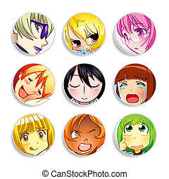 conjunto, niñas, 2, anime, |, insignias