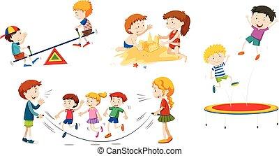 conjunto, niños jugar