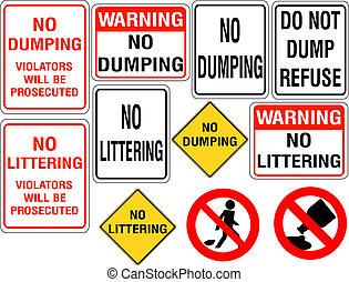 conjunto, no, el descargar, o, señales, tirar basura
