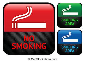 conjunto, no, etiquetas, -, área, fumar, pegatinas