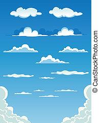 conjunto, nubes, caricatura