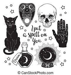 conjunto, objetos, magia, brujería