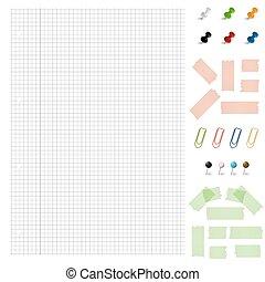 conjunto, oficina, -, accesorios, papel, blanco