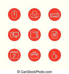 conjunto, oficina, contorno, diseño, rojo, ilustración, icono