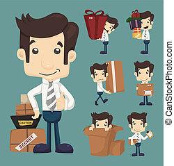 conjunto, oficina, embalaje, cajas, mudanza, caracteres, hombre de negocios, posturas